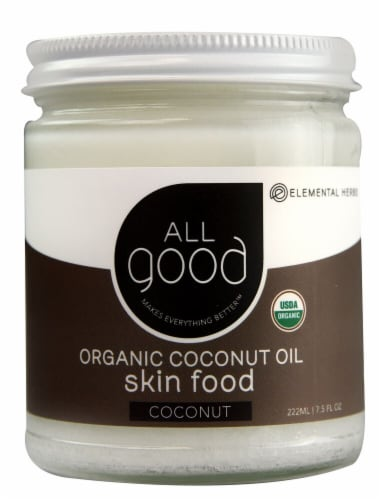Elemental Herbs  All Good Organic Coconut Oil Skin Food Coconut Perspective: front