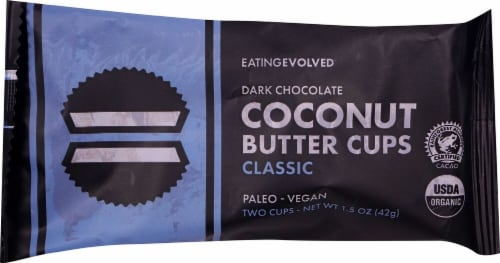 EatingEvolved Dark Chocolate Coconut Butter Cups Perspective: front
