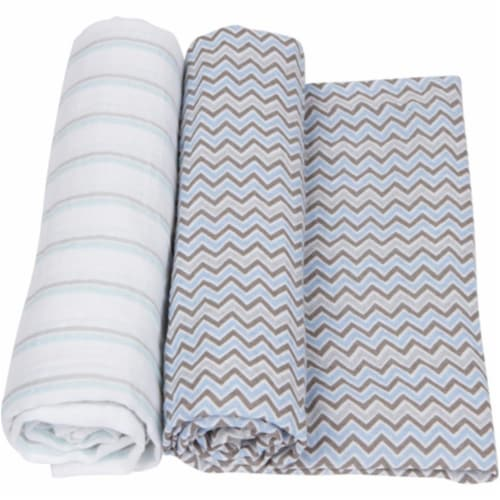 Miracle Baby MiracleWare Muslin Swaddle Blankets - Blue/Gray Perspective: front