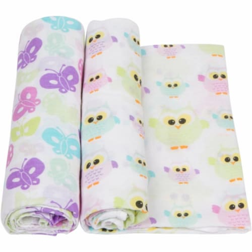 MiracleWare 3646 Owls Muslin Swaddle, 2 Pack Perspective: front
