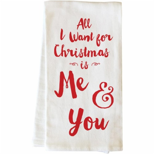 One Bella Casa 82011TW Christmas Me & You Tea Towel - Red Perspective: front