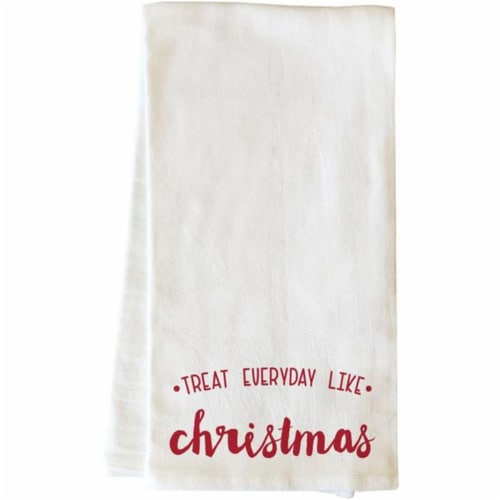 One Bella Casa 82019TW Treat Everyday Like Christmas Tea Towel - Red Perspective: front