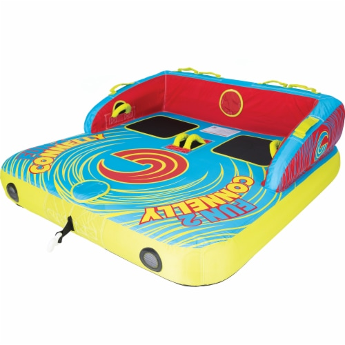 Connelly Fun 2 Person 2 Way 65x65 Inch Inflatable Boat Towable Water Inner Tube Perspective: front