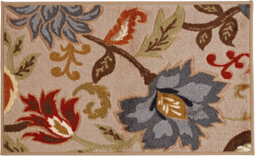 Oriental Weavers Courtland Carved Floral Accent Rug - Stone/Blue Perspective: front