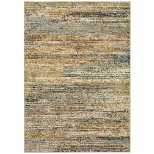 Oriental Weavers A8037J100170ST Atlas Indoor Casual Abstract Rectangle Area Rug, Gold - 3 ft. Perspective: front