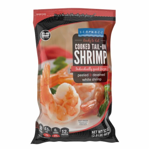 Seamazz® Cooked Tail-On Shrimp Perspective: front