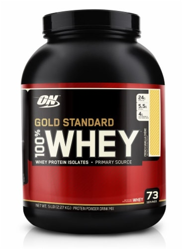 Optimum Nutrition  Gold Standard 100% Whey Protein Isolates   French Vanilla Creme Perspective: front