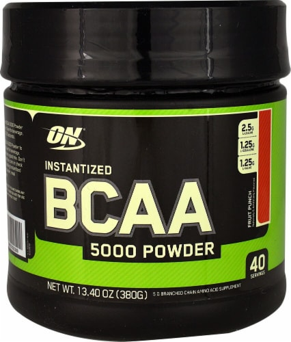 Optimum Nutrition  Instantized BCAA 5000 Powder   Fruit Punch Perspective: front