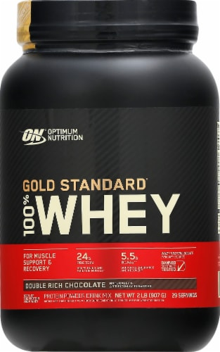 Optimum Nutrition Double Rich Chocolate 100% Whey Protein Isolate Powder Drink Mix Perspective: front