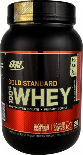 Optimum Nutrition  Gold Standard 100% Whey   Delicious Strawberry Perspective: front