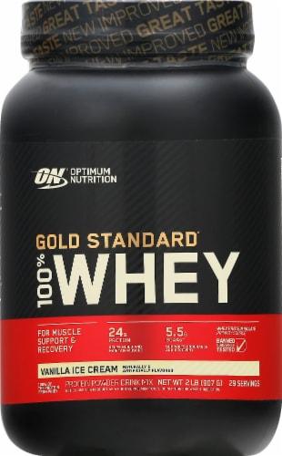 Optimum Nutrition Gold Standard 100% Whey Vanilla Ice Cream Protein Powder Perspective: front