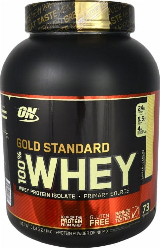 Optimum Nutrition  Gold Standard 100% Whey   Vanilla Ice Cream Perspective: front