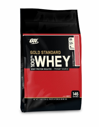 Optimum Nutrition  Gold Standard 100% Whey Protein Isolates   Delicious Strawberry Perspective: front