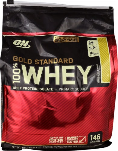 Optimum Nutrition  Gold Standard 100% Whey Protein Isolate   Vanilla Ice Cream Perspective: front
