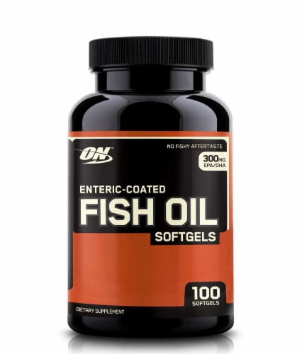Optimum Nutrition Enteric-Coated Fish Oil Softgels 300mg Perspective: front