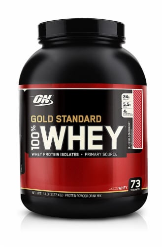 Optimum Nutrition  Gold Standard 100% Whey   Strawberry Banana Perspective: front