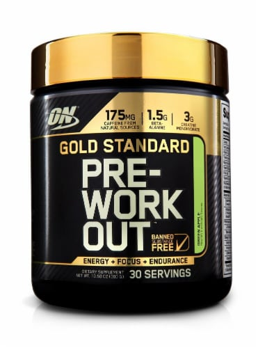 Optimum Nutrition  Gold Standard Pre-Workout   Green Apple Perspective: front