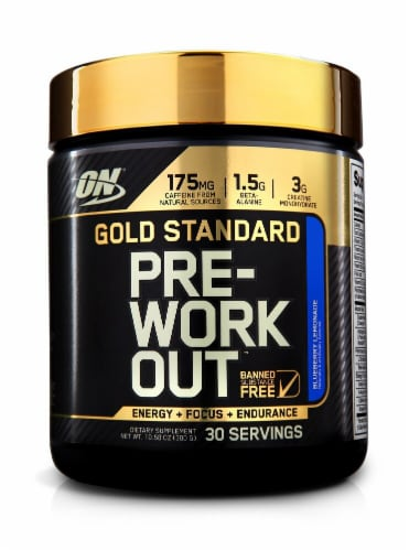 Optimum Nutrition  Gold Standard Pre-Workout   Blueberry Lemonade Perspective: front