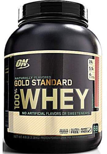 Optimum Nutrition  Gold Standard 100% Whey Protein   Strawberry Perspective: front