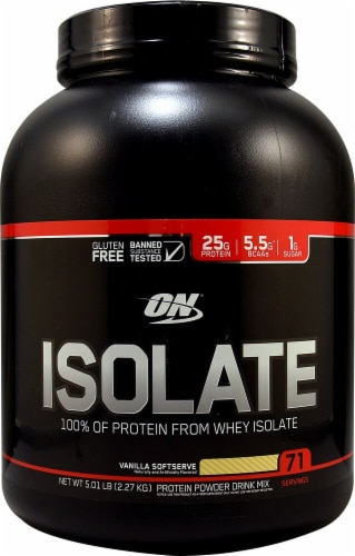 Optimum Nutrition  Isolate 100% Whey Protein Isolate   Vanilla Soft Serve Perspective: front