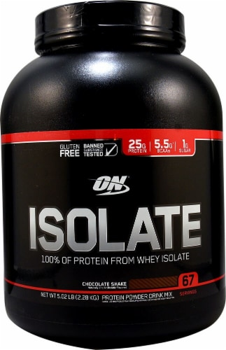 Optimum Nutrition  Isolate 100% Whey Protein Isolate   Chocolate Shake Perspective: front