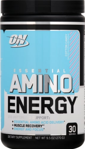 Optimum Nutrition Essential AMIN.O. Energy Cotton Candy Dietary Supplement Powder Perspective: front