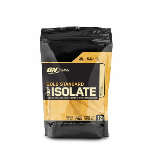 Optimum Nutrition Gold Standard Rich Vanilla Hydrolyzed and Ultra-Filtered Whey Protein Isolate Perspective: front