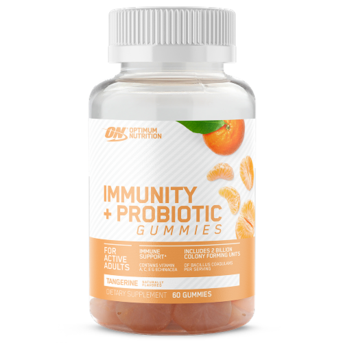 Optimum Nutrition Tangerine Immunity + Probiotics Gummies 60 Count Perspective: front