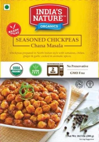 India's Nature Organics Seasoned Chickpeas Perspective: front