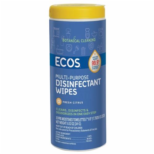 ECOS Fresh Citrus Multi-Purpose Disinfectant Wipes Perspective: front