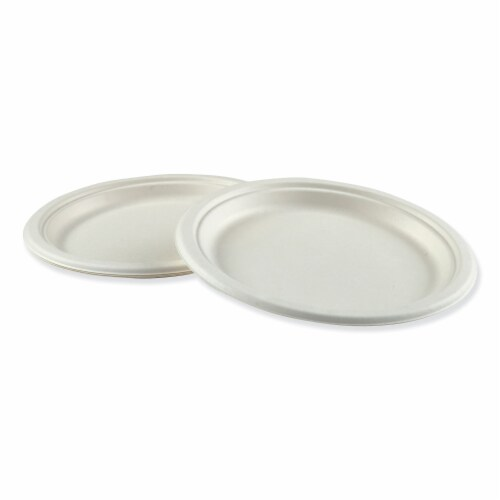 Boardwalk PLATEWF9 9 in. Bagasse Molded Fiber Round Dinnerware Plate Perspective: front