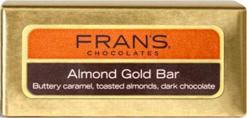 Fran's Chocolates Dark Chocolate Almond Gold Bar Perspective: front