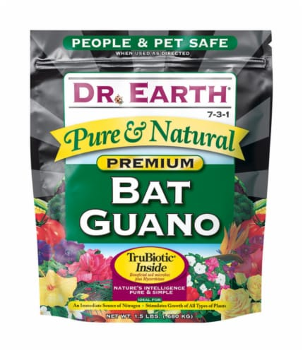 Dr. Earth Pure & Natural Organic Bat Guano 1.5 lb - Case Of: 1; Perspective: front