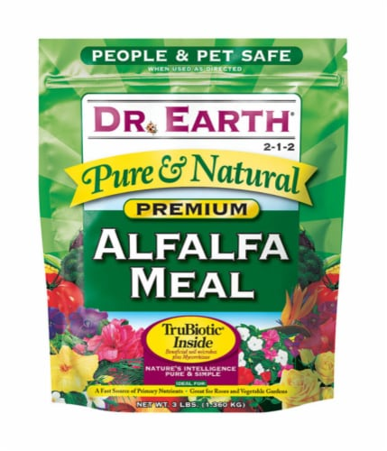 Dr. Earth Pure & Natural Organic Alfalfa Meal Plant Food 3 lb. Perspective: front