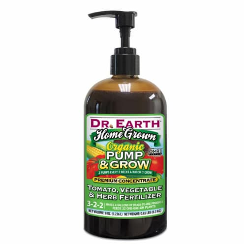 Dr. Earth Home Grown Pump & Grow Organic 3-2-2 Tomato & Vegetable Fertilizer 8 oz. - Case Of: Perspective: front