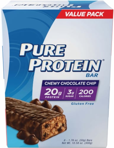 Pure Protein Chewy Chocolate Chip Protein Bars 6 Count Perspective: front