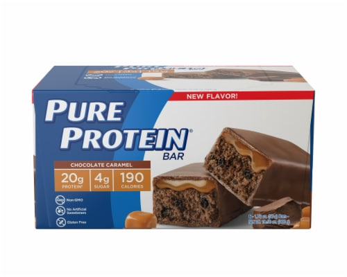 Pure Protein Chocolate Caramel Bars Perspective: front