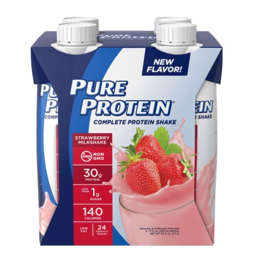 Pure Protein Strawberry Milkshake Complete Protein Shake Perspective: front