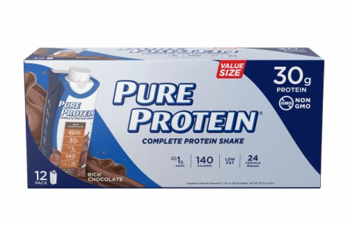 Pure Protein Rich Chocolate Complete Protein Shake Perspective: front