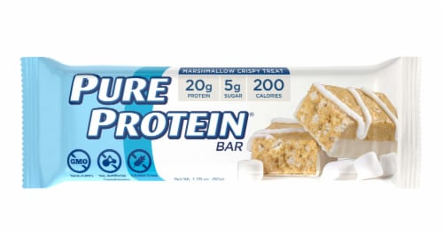 Pure Protein Marshmallow Crispy Treat Bar Perspective: front