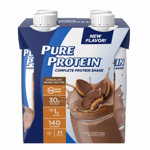 Pure Protein Chocolate Peanut Butter Protein Shakes Perspective: front