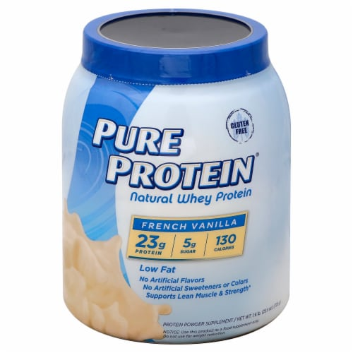 Pure Protein Low Fat French Vanilla Whey Protein Powder Perspective: front