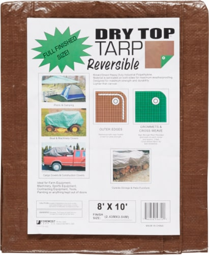 Foremost Tarp Co. Dry Top Reversible Tarp - Brown/Green Perspective: front