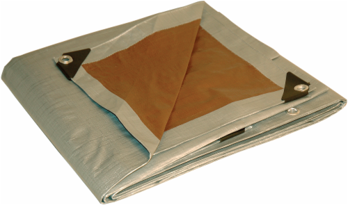 Foremost Tarp Co. Dry Top® Heavy Duty Reversible Tarp - Silver/Brown Perspective: front