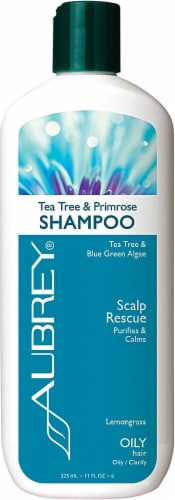 Aubrey Organics Tea Tree & Primrose Lemongrass Scalp Rescue Shampoo Perspective: front