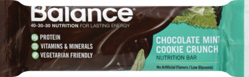 Balance Chocolate Mint Cookie Crunch Nutrition Bar Perspective: front