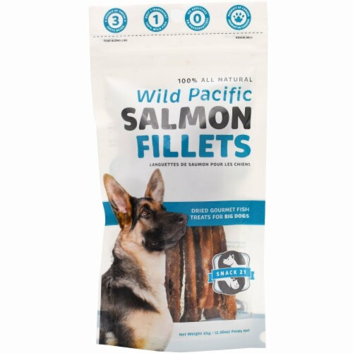 2.3 oz Snack 21 Salmon Jumbo Fillets Box - 8 Pouches Perspective: front