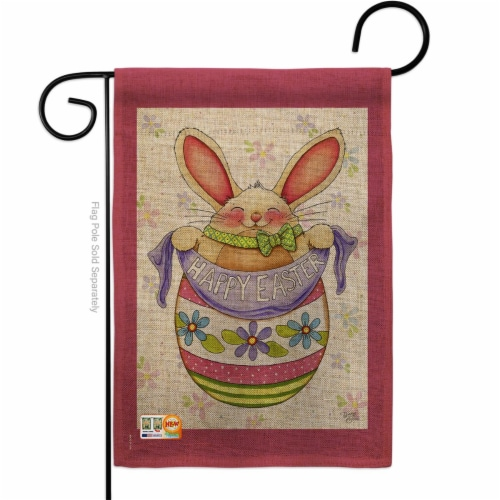 13 x 18.5 in. Egg Bunny Burlap Spring Easter Impressions Decorative Vertical Double Sided Gar Perspective: front