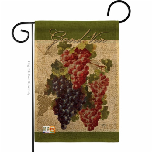 13 x 18.5 in. Red & Purple Grapes Burlap Food Fruits Impressions Decorative Vertical Double S Perspective: front