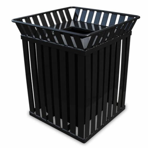 Oakley Series Square Trash Can 36 Gallons - Black Perspective: front